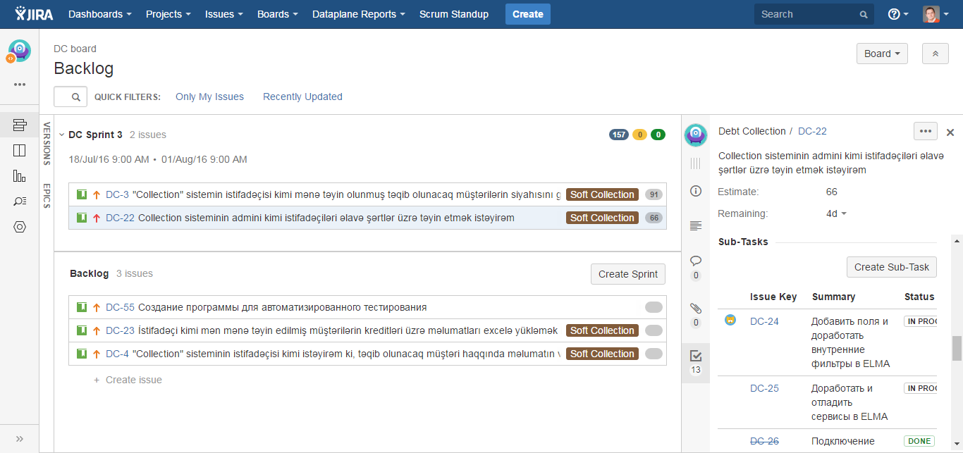 Project Backlog JIRA